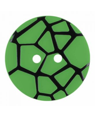 round polyamide button with a raised black spider web and 2 holes - Size: 23mm - Color: green - Art.No. 344870