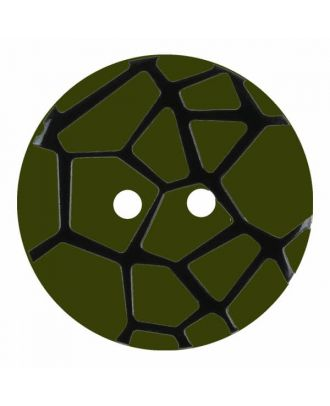 round polyamide button with a raised black spider web and 2 holes - Size: 18mm - Color: green - Art.No. 314834