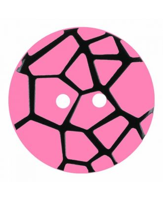round polyamide button with a raised black spider web and 2 holes - Size: 23mm - Color: pink - Art.No. 344872