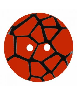 round polyamide button with a raised black spider web and 2 holes - Size: 28mm - Color: red - Art.No. 374834