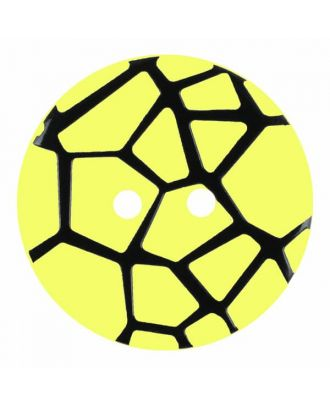 round polyamide button with a raised black spider web and 2 holes - Size: 28mm - Color: yellow - Art.No. 374835