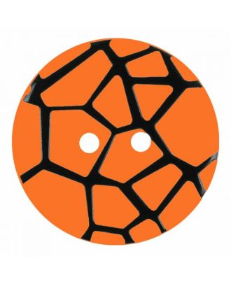 round polyamide button with a raised black spider web and 2 holes - Size: 28mm - Color: orange - Art.No. 374836