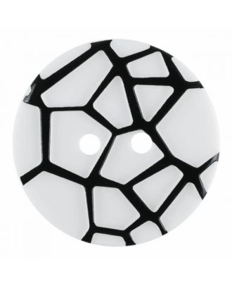 round polyamide button with a raised black spider web and 2 holes - Size: 23mm - Color: white - Art.No. 341322