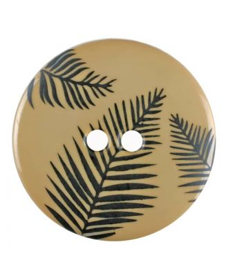 round polyamide button with leafs and 2 holes - Size: 25mm - Color: beige - Art.No. 344824