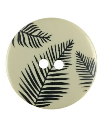round polyamide button with leafs and 2 holes - Size: 25mm - Color: beige - Art.No. 344825