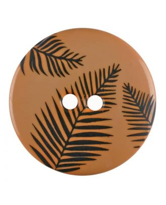 round polyamide button with leafs and 2 holes - Size: 13mm - Color: beige - Art.No. 264802
