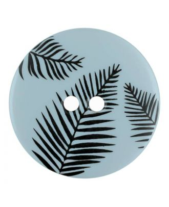 round polyamide button with leafs and 2 holes - Size: 18mm - Color: blue - Art.No. 314804