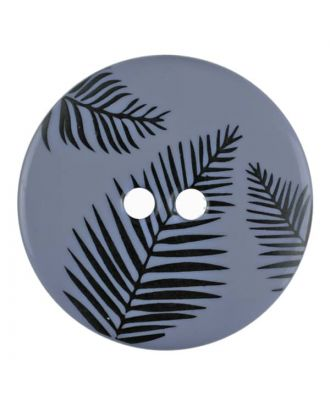 round polyamide button with leafs and 2 holes - Size: 18mm - Color: blue - Art.No. 314805