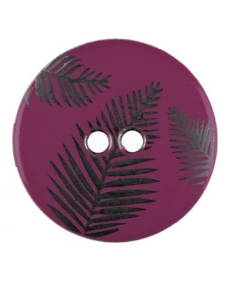 round polyamide button with leafs and 2 holes - Size: 25mm - Color: purple - Art.No. 344830