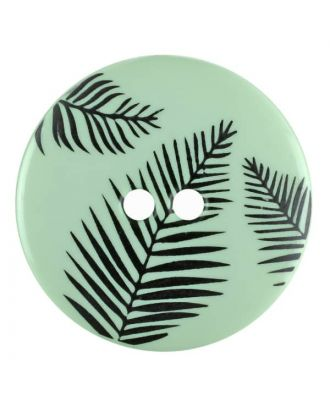 round polyamide button with leafs and 2 holes - Size: 13mm - Color: green - Art.No. 264807