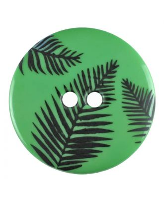 round polyamide button with leafs and 2 holes - Size: 13mm - Color: green - Art.No. 264808