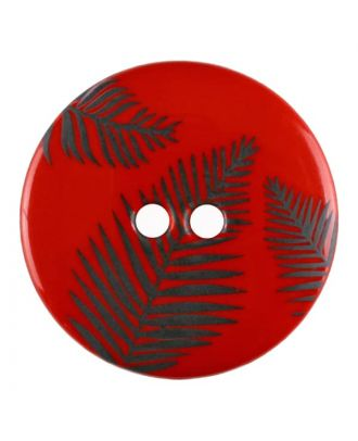 round polyamide button with leafs and 2 holes - Size: 25mm - Color: red - Art.No. 344835