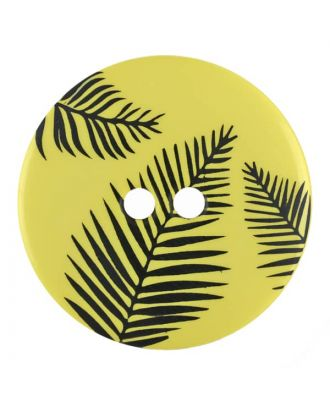round polyamide button with leafs and 2 holes - Size: 25mm - Color: yellow - Art.No. 344836
