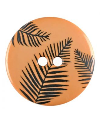 round polyamide button with leafs and 2 holes - Size: 18mm - Color: orange - Art.No. 314813