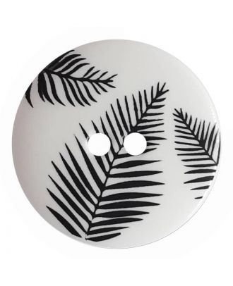 round polyamide button with leafs and 2 holes - Size: 13mm - Color: white - Art.No. 261339
