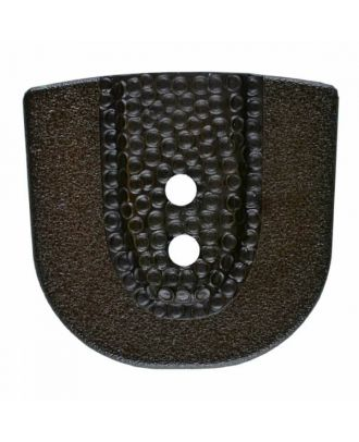 polyamide button in horseshoe shape with two holes - Size: 20mm - Color: brown - Art.No. 315802