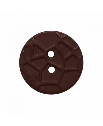 round small polyamide button with raised spider web and 2 holes  - Size: 13mm - Color: brown - Art.No. 224805