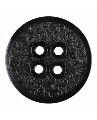 polyamide button with a fine edge and surface relief and four holes - Size: 34mm - Color: black - Art.No. 370883