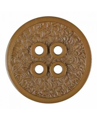 polyamide button with a fine edge and surface relief and four holes - Size: 34mm - Color: beige - Art.No. 375800