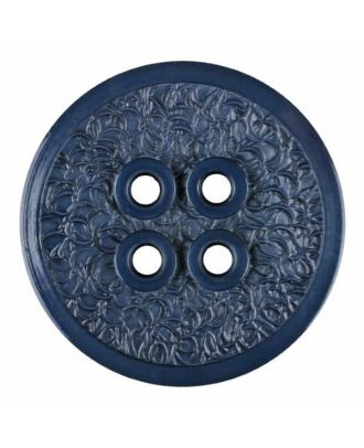 polyamide button with a fine edge and surface relief and four holes - Size: 34mm - Color: blue - Art.No. 375803