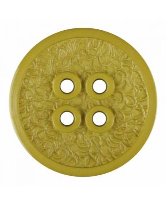 polyamide button with a fine edge and surface relief and four holes - Size: 34mm - Color: green - Art.No. 375805