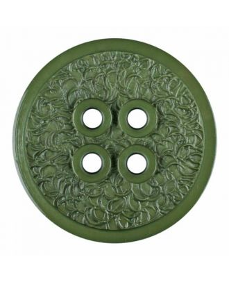 polyamide button with a fine edge and surface relief and four holes - Size: 34mm - Color: green - Art.No. 375806