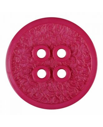 polyamide button with a fine edge and surface relief and four holes - Size: 34mm - Color: pink - Art.No. 375808