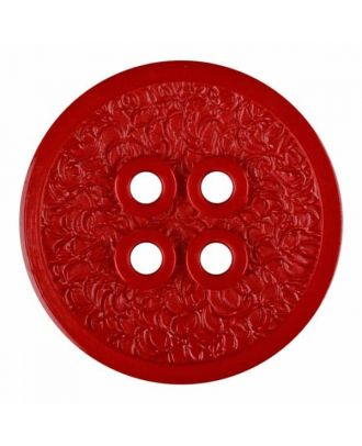 polyamide button with a fine edge and surface relief and four holes - Size: 23mm - Color: red - Art.No. 335810