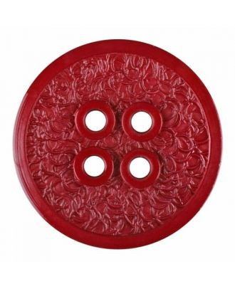 polyamide button with a fine edge and surface relief and four holes - Size: 34mm - Color: winered - Art.No. 375807