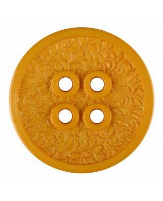 polyamide button with a fine edge and surface relief and four holes - Size: 34mm - Color: yellow - Art.No. 375811
