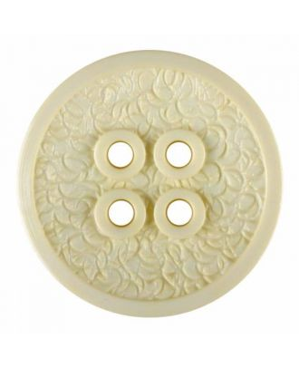 polyamide button with a fine edge and surface relief and four holes - Size: 34mm - Color: yellow - Art.No. 375812