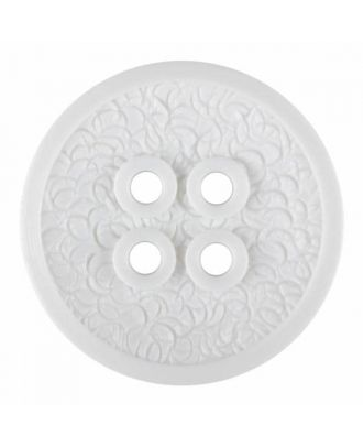 polyamide button with a fine edge and surface relief and four holes - Size: 23mm - Color: white - Art.No. 331204