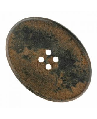 polyamide button oval with four  holes - Size: 30mm - Color: brown - Art.No. 370886