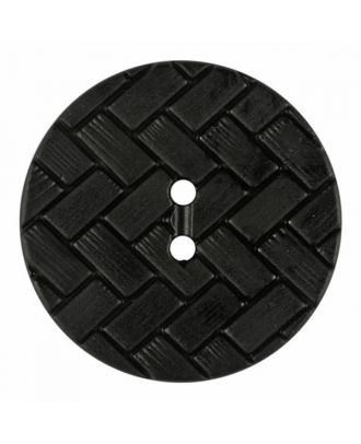 polyamide button with braid pattern and two holes - Size: 28mm - Color: black - Art.No. 370891