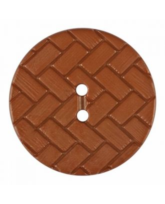 polyamide button with braid pattern and two holes - Size: 23mm - Color: brown - Art.No. 345854