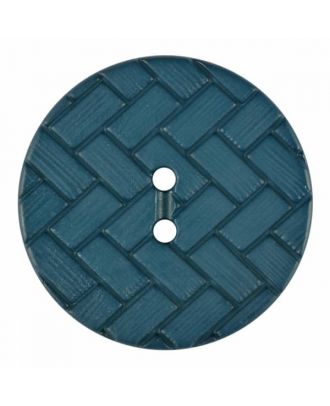 polyamide button with braid pattern and two holes - Size: 28mm - Color: blue - Art.No. 375842