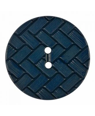 polyamide button with braid pattern and two holes - Size: 28mm - Color: blue - Art.No. 375843