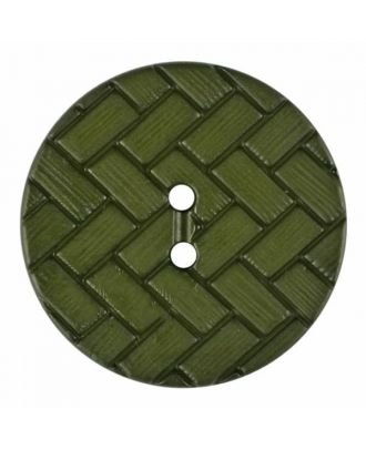 polyamide button with braid pattern and two holes - Size: 23mm - Color: green - Art.No. 345859