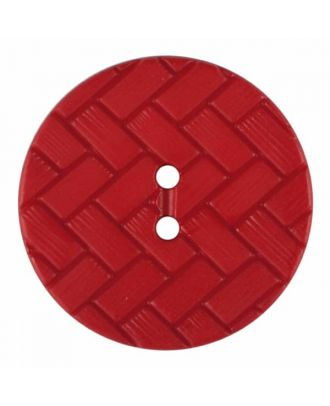 polyamide button with braid pattern and two holes - Size: 23mm - Color: red - Art.No. 345860