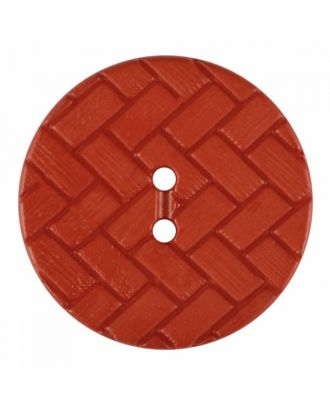 polyamide button with braid pattern and two holes - Size: 23mm - Color: red - Art.No. 345861