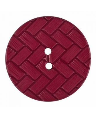 polyamide button with braid pattern and two holes - Size: 23mm - Color: winered - Art.No. 345862