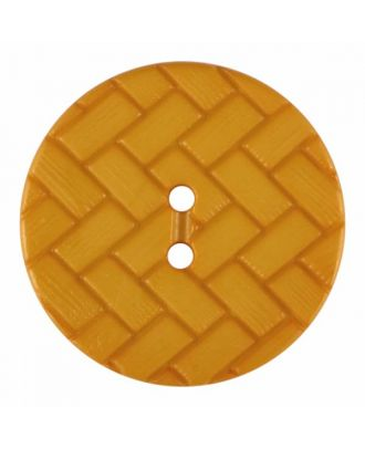 polyamide button with braid pattern and two holes - Size: 28mm - Color: yellow - Art.No. 375850
