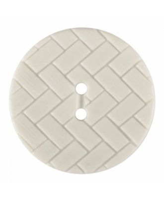 polyamide button with braid pattern and two holes - Size: 28mm - Color: white - Art.No. 370890