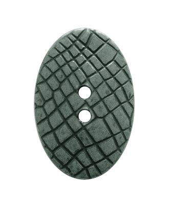 "polyamide button oval-shaped ""Vintage Look"" with fine structure and 2 holes - Size: 30mm - Color: grau - Art.No.: 387800"