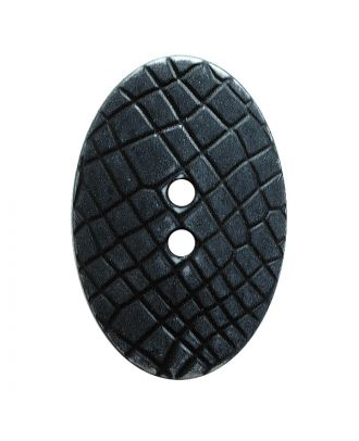 "polyamide button oval-shaped ""Vintage Look"" with fine structure and 2 holes - Size: 30mm - Color: schwarz - Art.No.: 380416"