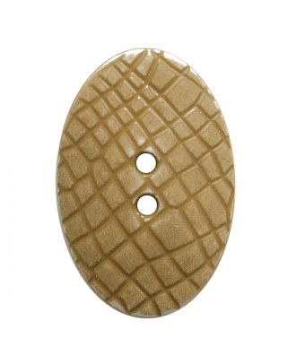 "polyamide button oval-shaped ""Vintage Look"" with fine structure and 2 holes - Size: 30mm - Color: beige - Art.No.: 387801"