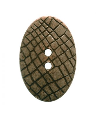 "polyamide button oval-shaped ""Vintage Look"" with fine structure and 2 holes - Size: 30mm - Color: dunkelbraun - Art.No.: 387803"