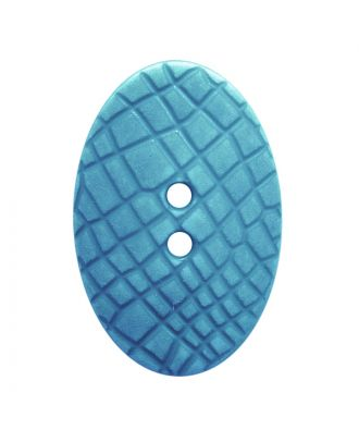 "polyamide button oval-shaped ""Vintage Look"" with fine structure and 2 holes - Size: 30mm - Color: hellblau - Art.No.: 387804"