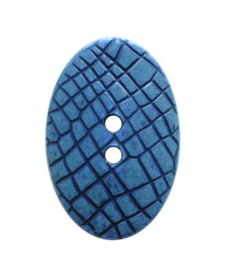 "polyamide button oval-shaped ""Vintage Look"" with fine structure and 2 holes - Size: 30mm - Color: blau - Art.No.: 387805"