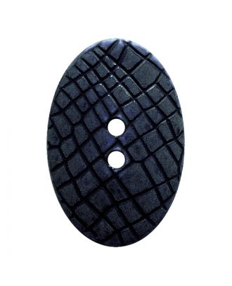 "polyamide button oval-shaped ""Vintage Look"" with fine structure and 2 holes - Size: 30mm - Color: dunkelblau - Art.No.: 387806"